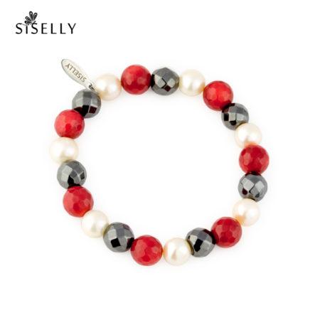 Siselly / Punane korall, hematiit ja pärl